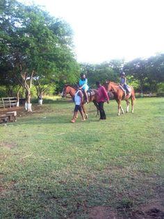 The kids enjoying a horseback ride around the stable