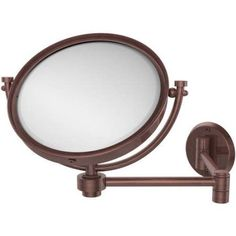 8 inch Wall-Mounted Extending Make-Up Mirror, 4x Magnification (Build to Order), Silver