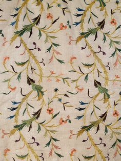 Detail of embroidery on woman's robe (entari) of ivory silk, Turkish, late 19th century, KSUM 1983.1.985.