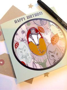 Badger Card Birthday Card Badger Birthday Card by Slumbermonkey