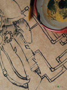 A post apocalyptic post card Small steampunk by KropkaDesign #postapocalypse #steampunkart #wallart #postapocalypticart #tools #painting #kropkadesign
