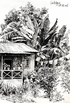 while his sister was putting up the washing and singing way louder than the radio, the brother came out to watch me draw and chatted with me. Such friendly people on La Digue, Seychelles, 2006 © Jan Philipp Schwarz Landscape Pencil Drawings, Landscape Sketch, Ink Pen Drawings, Art Drawings Sketches, Landscape Art, Ink Illustrations, Illustration Art, Cityscape Drawing, Perspective Art