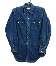 vintage 50 s levis short horn denim western shirt. Vintage Jeans, Vintage Shirts, Vintage Outfits, 50s Vintage, Vintage Fashion, Western Outfits, Western Shirts, Hipster Crop Tops, Jean Shirts
