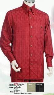 Mens Red Walking Suits Shiny Stripe 2 Piece Set 1111