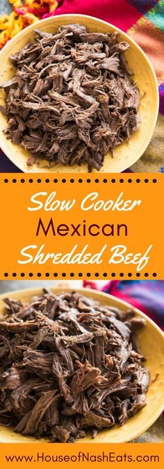 Slow Cooker Mexican Shredded beef is incredibly tender and delicious. It's super simple and easy to make and perfect for nachos tacos salads burritos chimichangas chilaquiles tamales and more! Crock Pot Recipes, Top Recipes, Slow Cooker Recipes, Mexican Food Recipes, Cooking Recipes, Slow Cooking, Crock Pots, Easy Mexican Dishes, Recipies