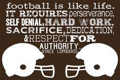 Football is Like Life-Vince Lombardi-6x4 Print-Custom Colors Available. $6.00, via Etsy.