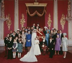 The wedding of Anne, Princess Royal to Mark Phillips, London, UK, 14th November 1973. Also pictured are Queen Elizabeth II, the Queen Mother, Princess Margaret, Prince Philip, Prince Charles, Viscount Linley, Katharine, Duchess of Kent, Queen Beatrix of the Netherlands, King Constantine II of Greece, King Juan Carlos I of Spain, and King Harald V of Norway and Queen Sonja of Norway. - In Focus: Official Portraits of the Queen and Her Family Through The ...