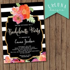 Bachelorette Party Invitation, Black & White Stripe, Floral Glitter Bachelorette Invitation, Hens Party Invitation, Glitter Invitation