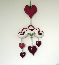 Red felt cloud mobile plushiered heart mobilewall by fraline