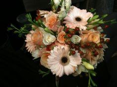Bridesmaid's Bouquet -  Peach Gerbera Daisies, Peach Roses, White Freesia, White Spray Roses, Chocolate Hypericum Berries