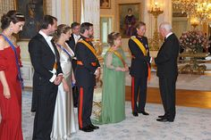 Princess Claire, Prince Felix, Princess Stephanie Hereditary Duchess of Luxembourg, Prince Guillaume Hereditary Duke of Luxembourg, Grand Duchess Maria-Teresa of Luxembourg and Grand Duke Henri of Luxembourg.