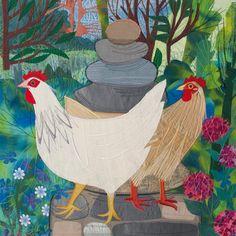 'The Lookout' By Textile Artist Rachel Sumner.  Blank Art Cards By  Green Pebble.  www.greenpebble.co.uk