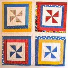 Pinwheel Baby Quilt- Back - modern quilt