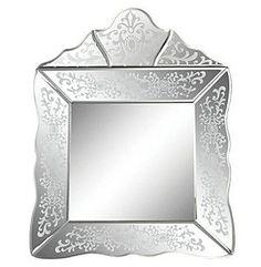 Sterling Small Scroll Trim Square Venetian Mirror