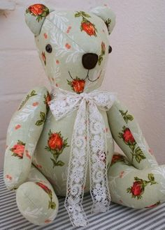 Vintage 1950s Floral Fabric Handmade Bear by Bubs Bears