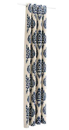 Blue Ikat Curtain Panels.