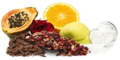 Delicious fruit tea with chocolate chips and coconut