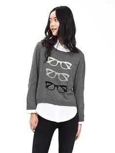 Glasses Intarsia Pullover Product Image - fun sweater that is still neutral. Modern Outfits, Cool Outfits, Cozy Winter Fashion, Fall Fashion, Graphic Sweaters, Pants For Women, Clothes For Women, Fall Clothes, Black Women Fashion