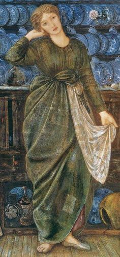 ' 'Cinderella' by Sir Edward Coley Burne-Jones. Note the blue and white china in the background. It was highly sought after by both Dante Gabriel Rossetti and Burne-Jones. Portrait Photos, Portraits, Illustrations, Illustration Art, Edward Burne Jones, Pre Raphaelite Brotherhood, John Everett Millais, A Cinderella Story, Art Gallery