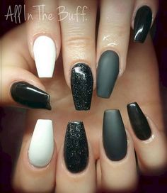 22 Black Nails That Look Edgy and Chic - Glossy, matte, and glittered all in one beautiful look.