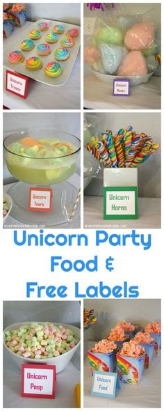 Unicorn Party Food - Free Food Labels