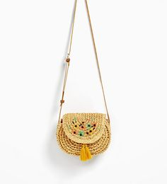 RAFFIA EFFECT CROSSBODY BAG WITH FLORAL EMBROIDERIES