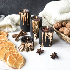 Black and Gold Candle Holders, Modern Ceramic Candlesticks, Dripping Gold Candleholders, Halloween Decor Black Candle Holders, Modern Candle Holders, Modern Candles, Romantic Candles, Ceramic Candle Holders, Gold Candles, Mini Candles, Black Candles, Candle Holder Set