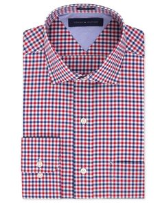 Classic-Fit Non-Iron Red Tartan Dress Shirt | Tommy hilfiger Easy Care Red And Blue Check Dress Shirt in Multicolor ...