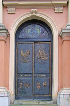Ornamental door of the Church of Our Lady, Queen of Poland which now  serves as the cathedral church of the Polish Armed Forces.