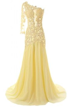 JAEDEN Women's One Shoulder Sexy Mermaid Evening Prom Dress Party Gown Yellow US 4