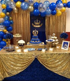 2020 Graduation Ideas Discover gold and royal blue prince crown baptism christening birthday baby shower backdrop sign poster banner party decor king 6072 Prince Birthday Party, Prince Party, 1st Boy Birthday, Baby Shower Backdrop, Boy Baby Shower Themes, Baby Boy Shower, Royalty Baby Shower Theme, Prince Themed Baby Shower, Party Kulissen
