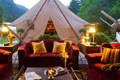 エコにも配慮したテントスタイルの客室。