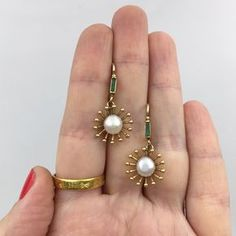 victorian pearl and emerald earrings Reverie antique jewelry nyc - Gold Jewelry Pearl Jewelry, Diamond Jewelry, Antique Jewelry, Silver Jewelry, Vintage Jewelry, Fine Jewelry, Jewelry Necklaces, Silver Ring, Emerald Jewelry