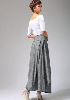 soft gray skirt  linen skirt  wrap skirt maxi skirt by xiaolizi, $69.00