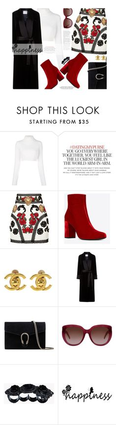 """""""Red ankle boots..."""" by unamiradaatuarmario ❤ liked on Polyvore featuring Balmain, Kate Spade, Dolce&Gabbana, Yves Saint Laurent, Chanel, Racil, Gucci and Dsquared2"""
