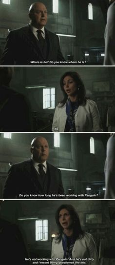 """He's not working with Penguin!"" - Leslie and Capt. Barnes #Gotham"