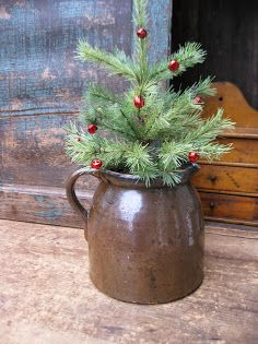 Early Batter Jug w Tree - so simple and prim Christmas in the Country Primitive Christmas Decorating, Prim Christmas, Farmhouse Christmas Decor, Simple Christmas, Winter Christmas, Vintage Christmas, Christmas Trees, Primitive Decor, Cowboy Christmas