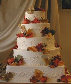 Wedding Cakes Real Flowers Pictures  This with flowers instead of leaves....I could SO do the scrolls...