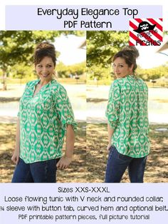 Everyday Elegance Top Tunic Sewing PDF by PatternsforPirates