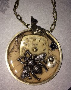 bee steampunk necklace handcrafted artisan jewelry on Etsy, $75.00