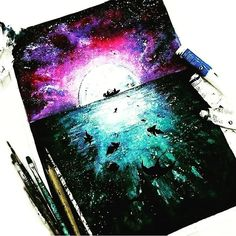 By diy art, painting & drawing, moon pain Galaxy Painting, Galaxy Art, Inspiration Art, Art Inspo, Watercolor Drawing, Painting & Drawing, Moon Painting, Art Galaxie, Love Art