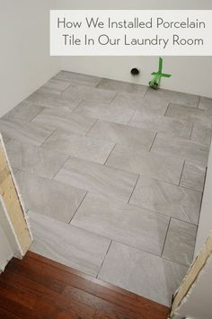 Charmant Laying Porcelain Tile In The Laundry Room. Grey Tile Floor KitchenTile ...