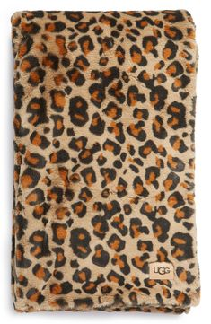 UGG® Juno Faux Fur Throw Blanket | Nordstrom Striped Quilt, Faux Fur Throw, Leopard Pattern, Knitted Blankets, Animal Print Rug, Uggs, Nordstrom, Cuddle, Number