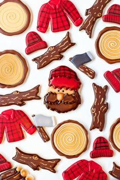 Decorating sugar cookies with royal icing to make these lumberjack cookies is… Fall Cookies, Iced Cookies, Cute Cookies, Royal Icing Cookies, Cupcake Cookies, Sugar Cookies, Cookie Favors, Flower Cookies, Heart Cookies