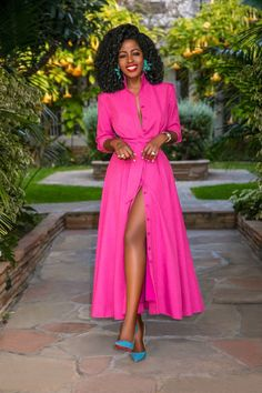 Raspberry Button-Down Shirtdress (Style Pantry) Classy Outfits, Chic Outfits, Fashion Outfits, Fashion Trends, African Fashion Dresses, African Dress, Black Women Fashion, Womens Fashion, Style Pantry