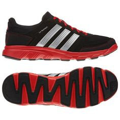 NEW ADIDAS LA RUNNER Mens 13 Running Black Red Silver NWT #adidas #Athletic