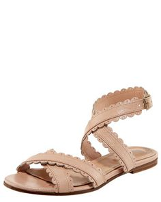 05a584f4ddf896 Scallop-Strap Flat Sandal by See by Chloe at Bergdorf Goodman. Nude Sandals