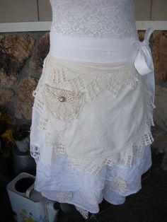 Aprons - Womens Half Apron - White Lace Aprons - Jane Austin Apron - Handmade Apron - Vintage Linens Apron - Shabby Chic Apron. $44.95, via Etsy.