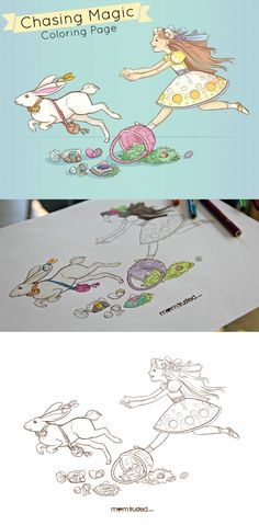 Chasing magic coloring page.  Beautiful hand drawn coloring page to print for easter.  Fun for mom to color too. ;)