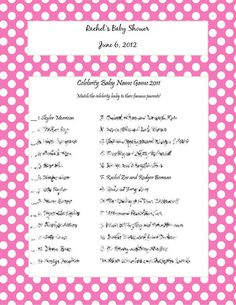 NEW Celebrity Baby Name Game 2011 By Craftygirlcreationz On Etsy, $5.00